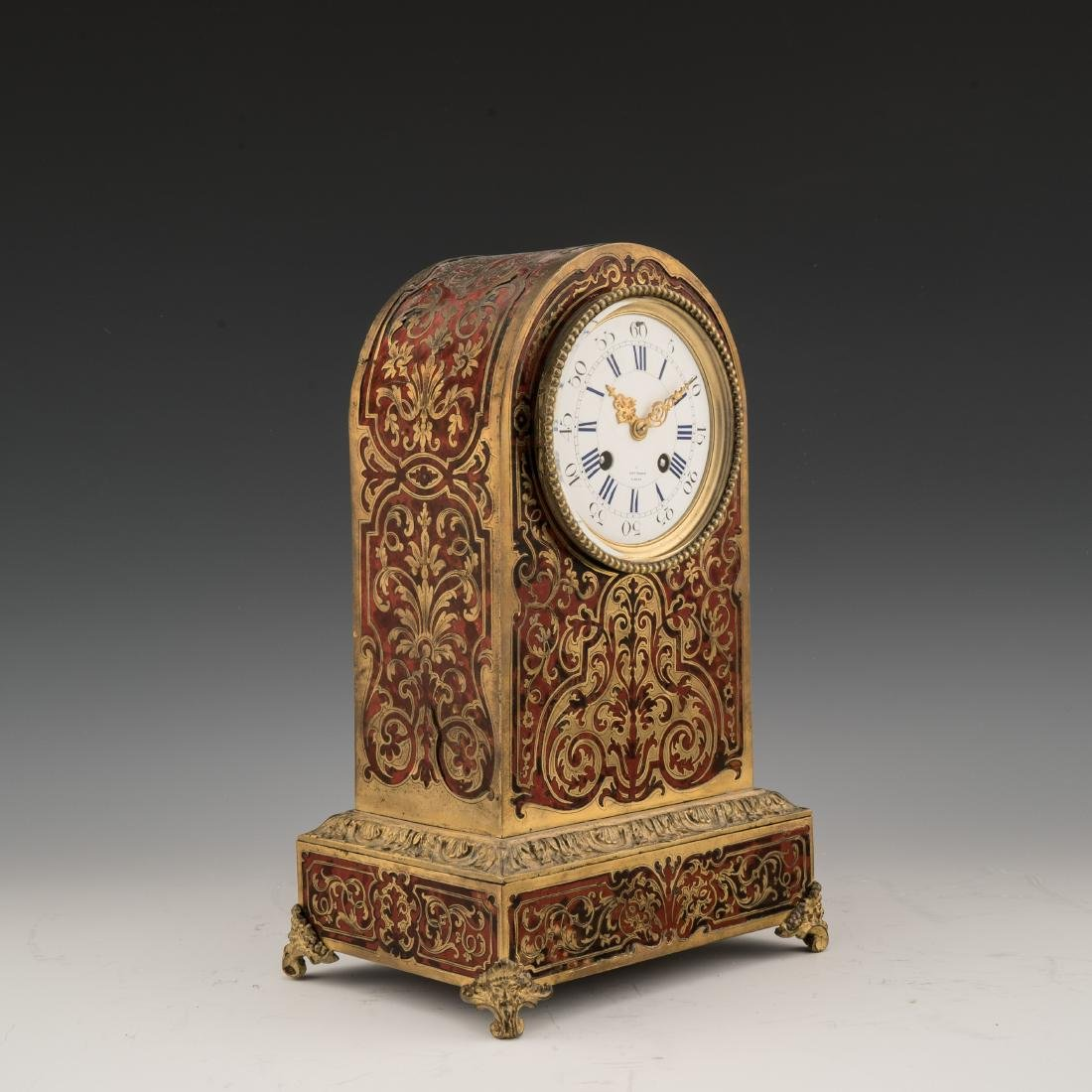 FRENCH BOULLE MARQUETRY CLOCK, HENRY MARC, C. 1850