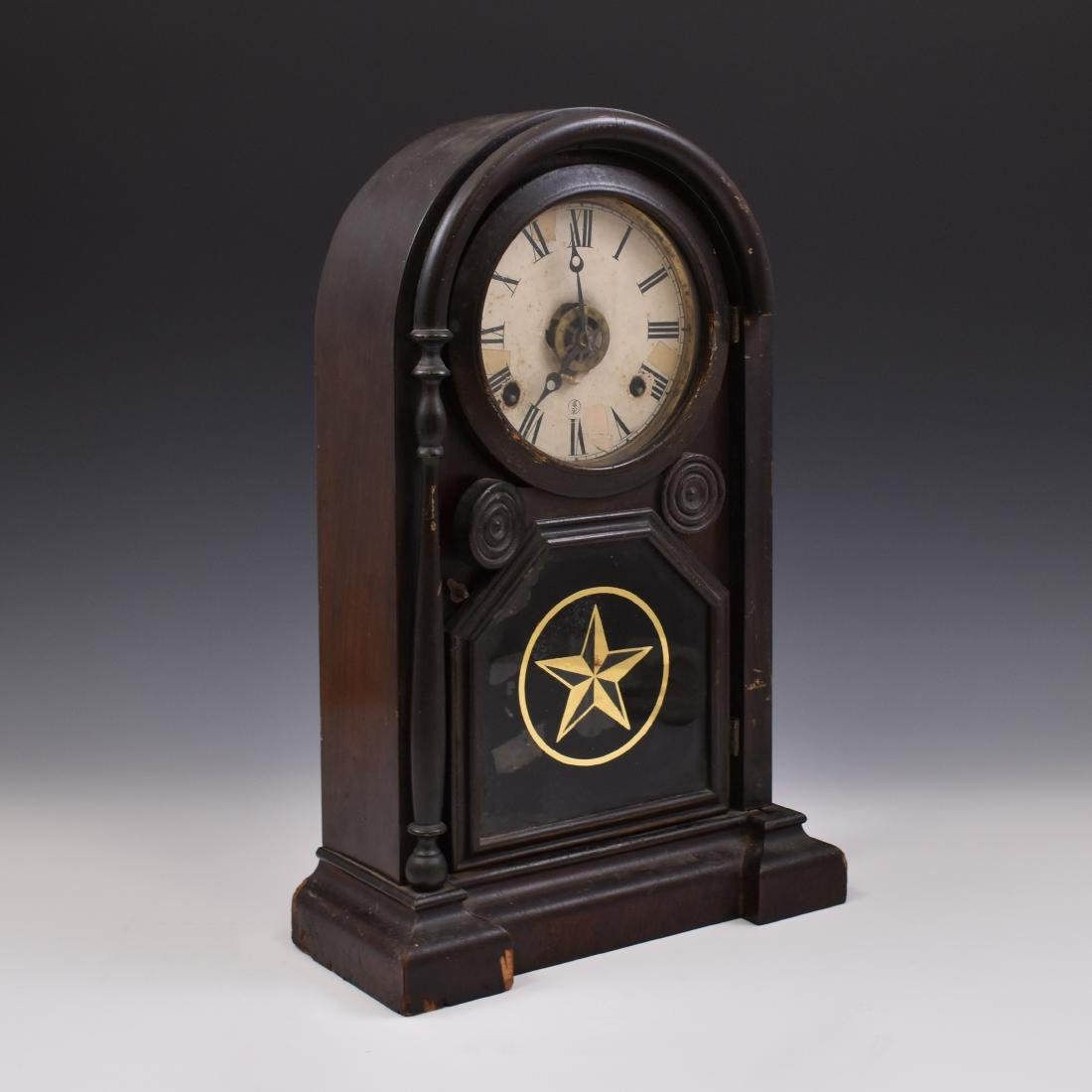 1868 ANTIQUE 8 DAY COTTAGE SHELF CLOCK
