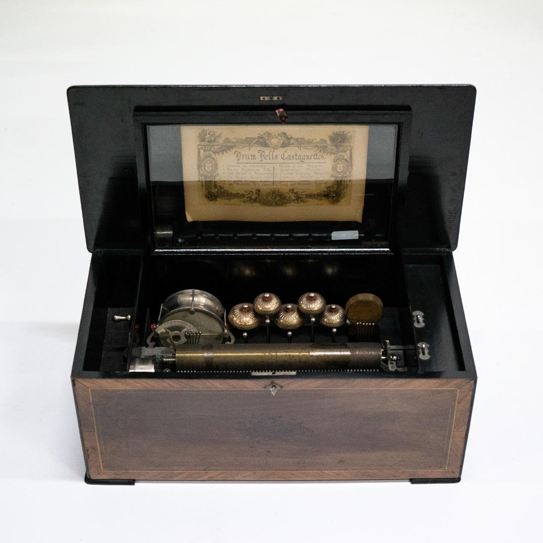SWISS CYLINDRICAL MUSIC BOX WITH 5 BELLS AND DRUM