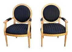 PAIR OF LOUIS XVI OPEN ARM CHAIRS