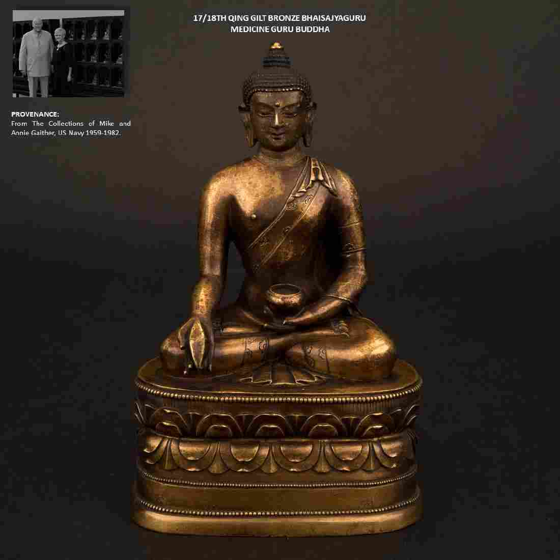 17/18TH C QING GILT BRONZE MEDICINE GURU BUDDHA
