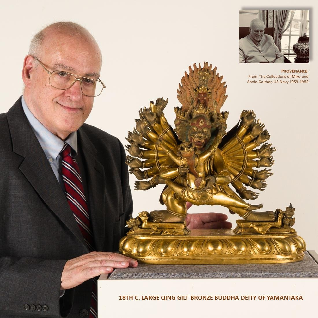 18TH C LARGE QING GILT BRONZE BUDDHA DEITY YAMANTAKA
