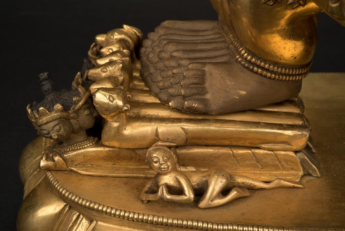 18TH C LARGE QING GILT BRONZE BUDDHA DEITY YAMANTAKA - 2