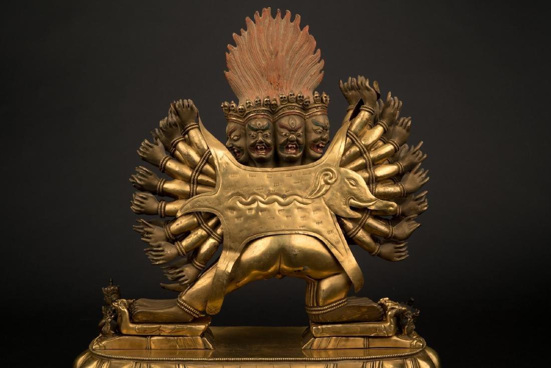 18TH C LARGE QING GILT BRONZE BUDDHA DEITY YAMANTAKA - 4
