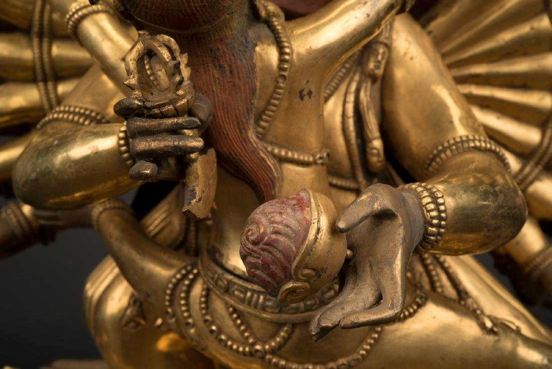 18TH C LARGE QING GILT BRONZE BUDDHA DEITY YAMANTAKA - 6