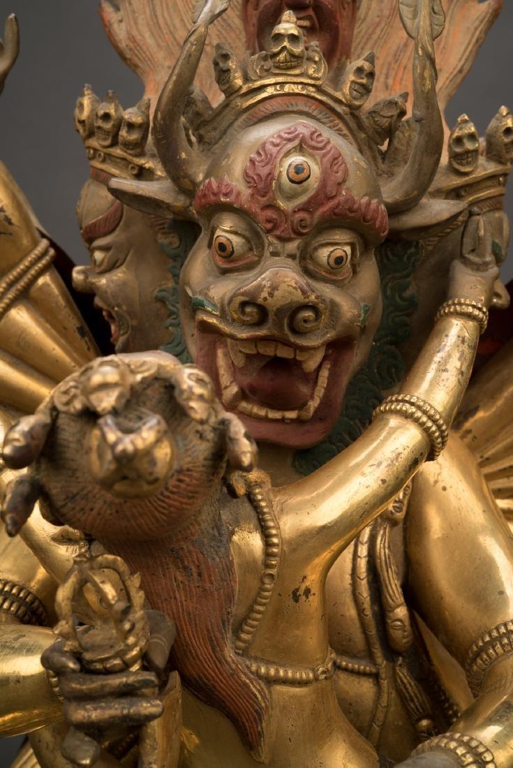 18TH C LARGE QING GILT BRONZE BUDDHA DEITY YAMANTAKA - 7