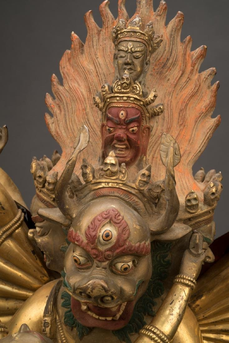 18TH C LARGE QING GILT BRONZE BUDDHA DEITY YAMANTAKA - 8