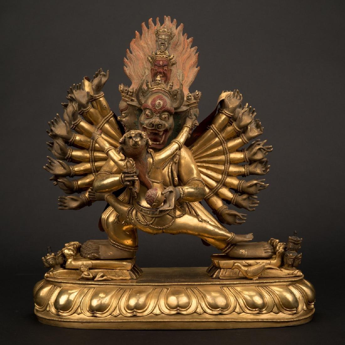 18TH C LARGE QING GILT BRONZE BUDDHA DEITY YAMANTAKA - 9