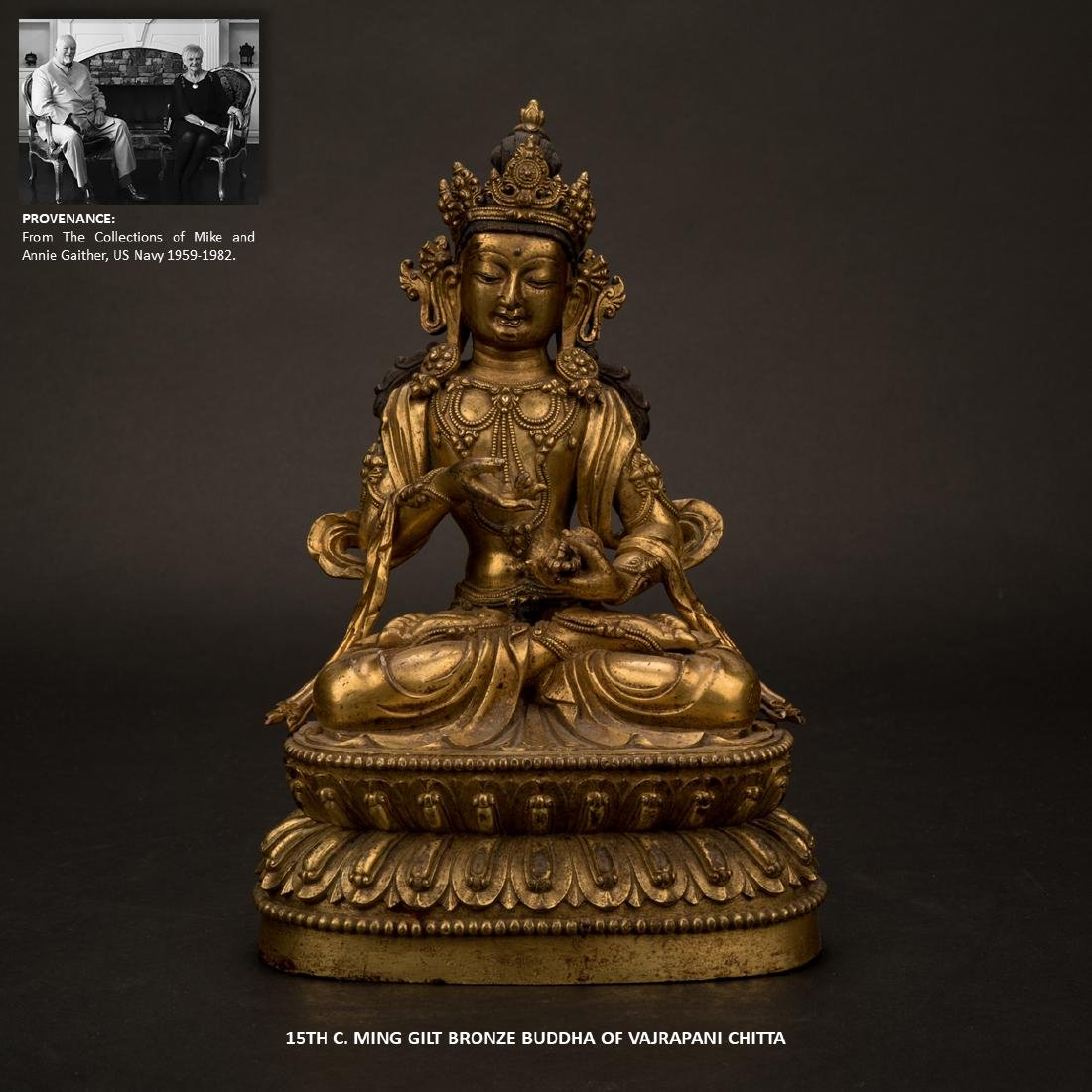 15TH C MING GILT BRONZE BUDDHA OF VAJRAPANI CHITTA