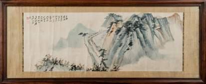 1945, FRAMED ZHANG DAQIAN LANDSCAPE PAINTING