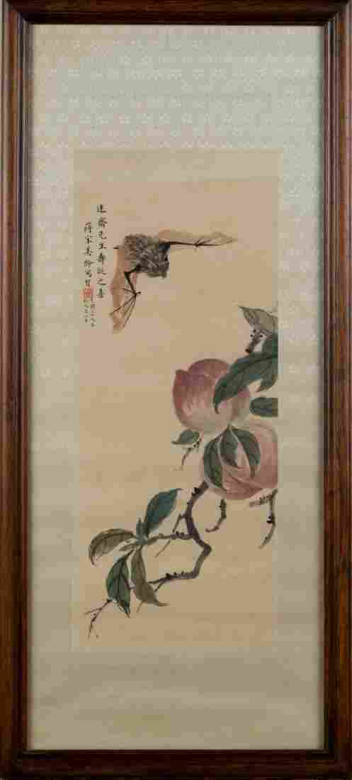 1950, FRAMED SONG MEILING BAT & PEACH PAINTING