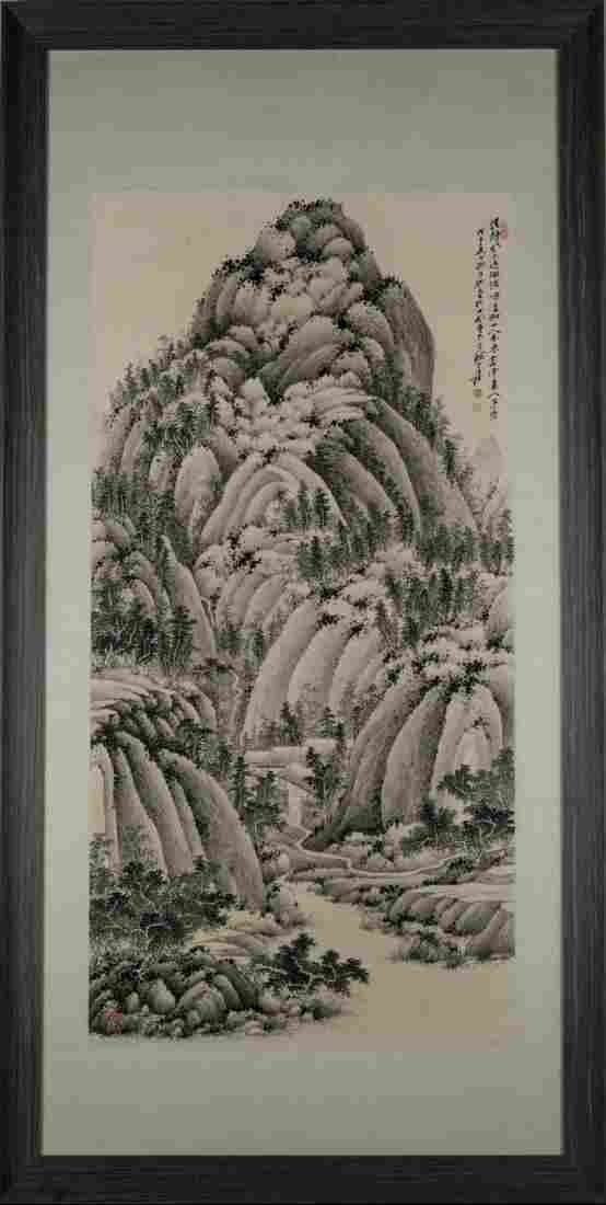 1948, FRAMED ZHANG DAQIAN LANDSCAPE PAINTING