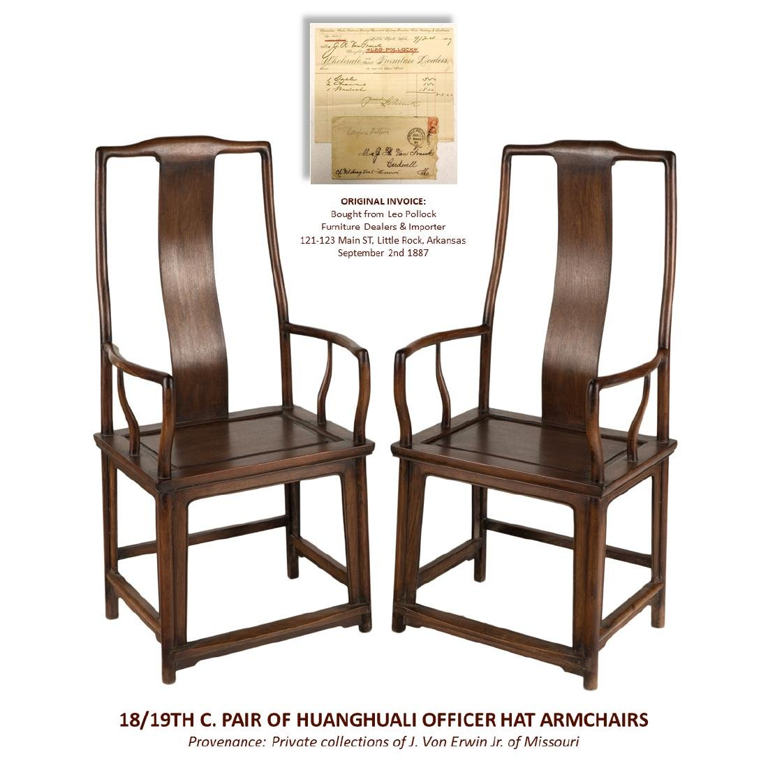 18/19TH C PAIR OF HUANGHUALI OFFICER HAT ARMCHAIRS