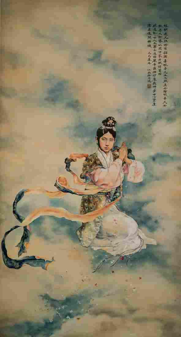 1929, XU BEIHONG POTRAIT OF MEI LANFANG SCROLL PAINTING