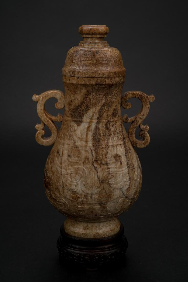 CHINESE JADE VASE IN ARCHAIC MOTIF ON STAND - 10
