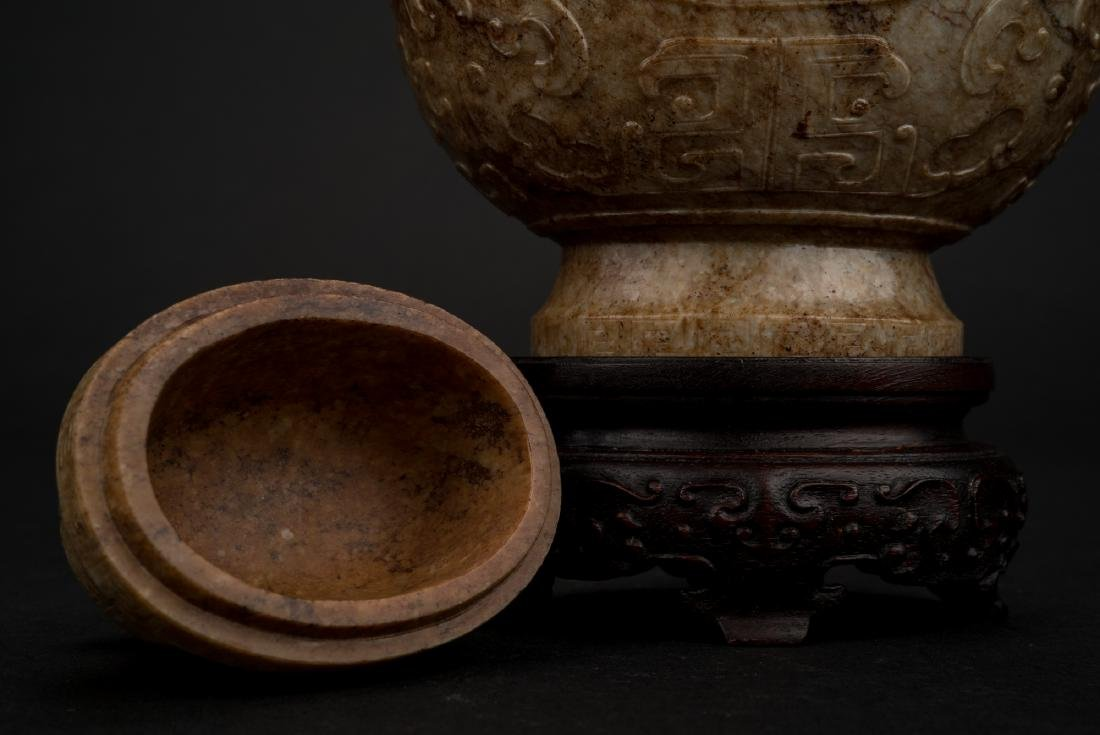CHINESE JADE VASE IN ARCHAIC MOTIF ON STAND - 2