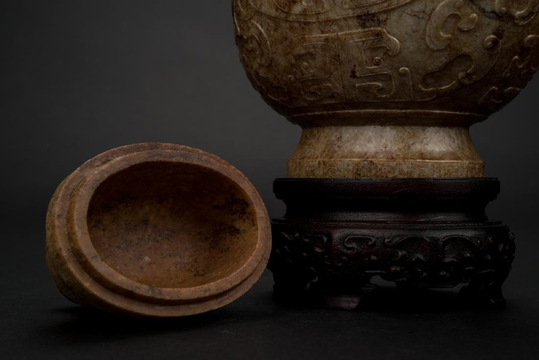 CHINESE JADE VASE IN ARCHAIC MOTIF ON STAND - 3