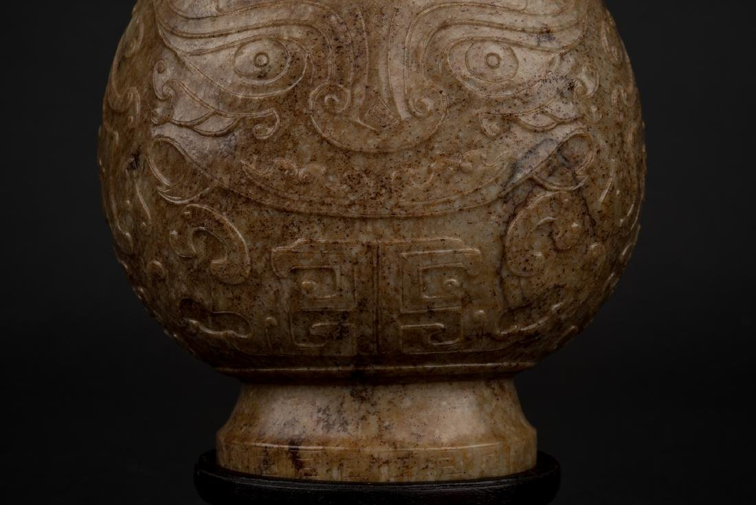 CHINESE JADE VASE IN ARCHAIC MOTIF ON STAND - 5
