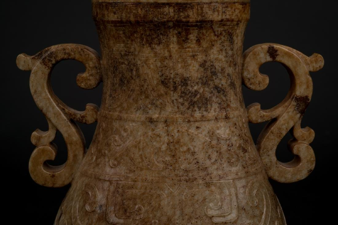 CHINESE JADE VASE IN ARCHAIC MOTIF ON STAND - 6