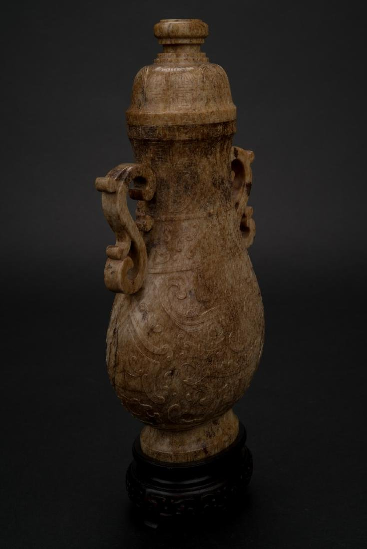 CHINESE JADE VASE IN ARCHAIC MOTIF ON STAND - 8