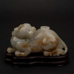 CARVED JADE QILIN WATER WELL ON STAND