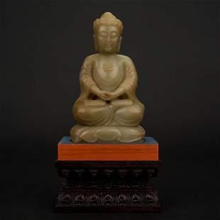 RARE YELLOW JADE SEATED BUDDHA ON STAND