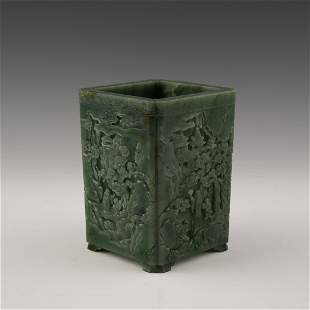 CARVED CHINESE GREEN JADE SQUARE BRUSH POT ON