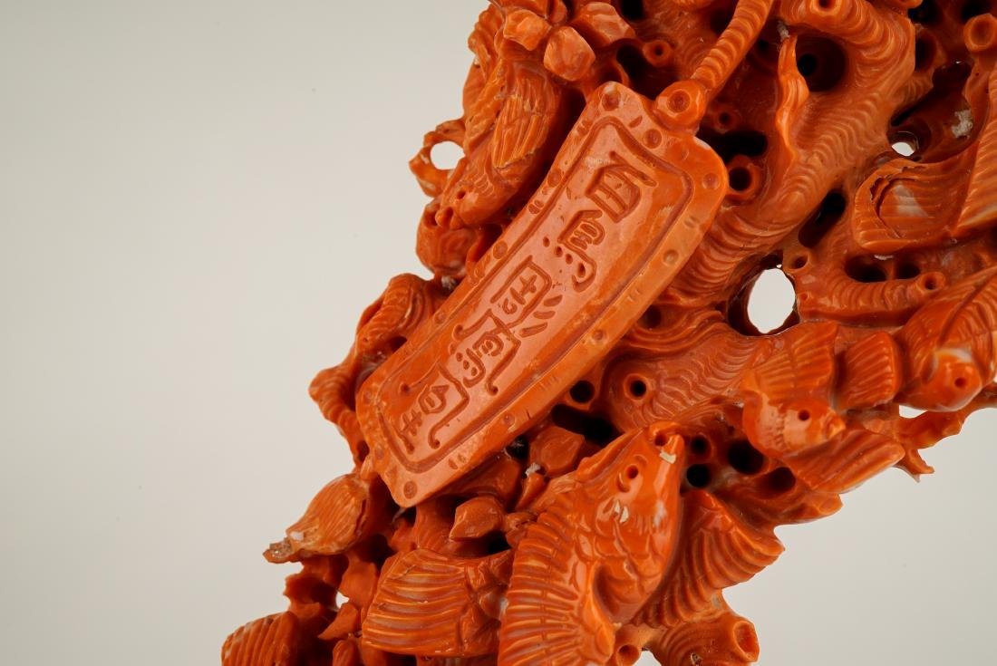 LARGE CARVED RED CORAL GROUP WITH AVIAN MOTIFS - 10