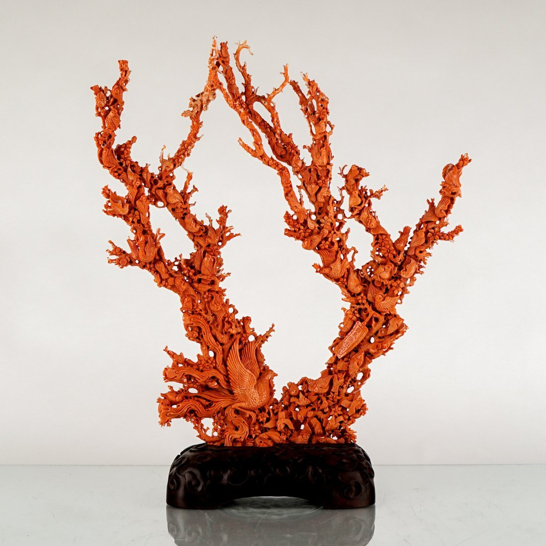 LARGE CARVED RED CORAL GROUP WITH AVIAN MOTIFS - 2
