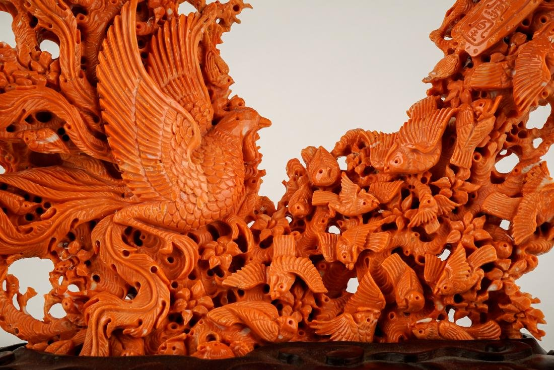 LARGE CARVED RED CORAL GROUP WITH AVIAN MOTIFS - 3