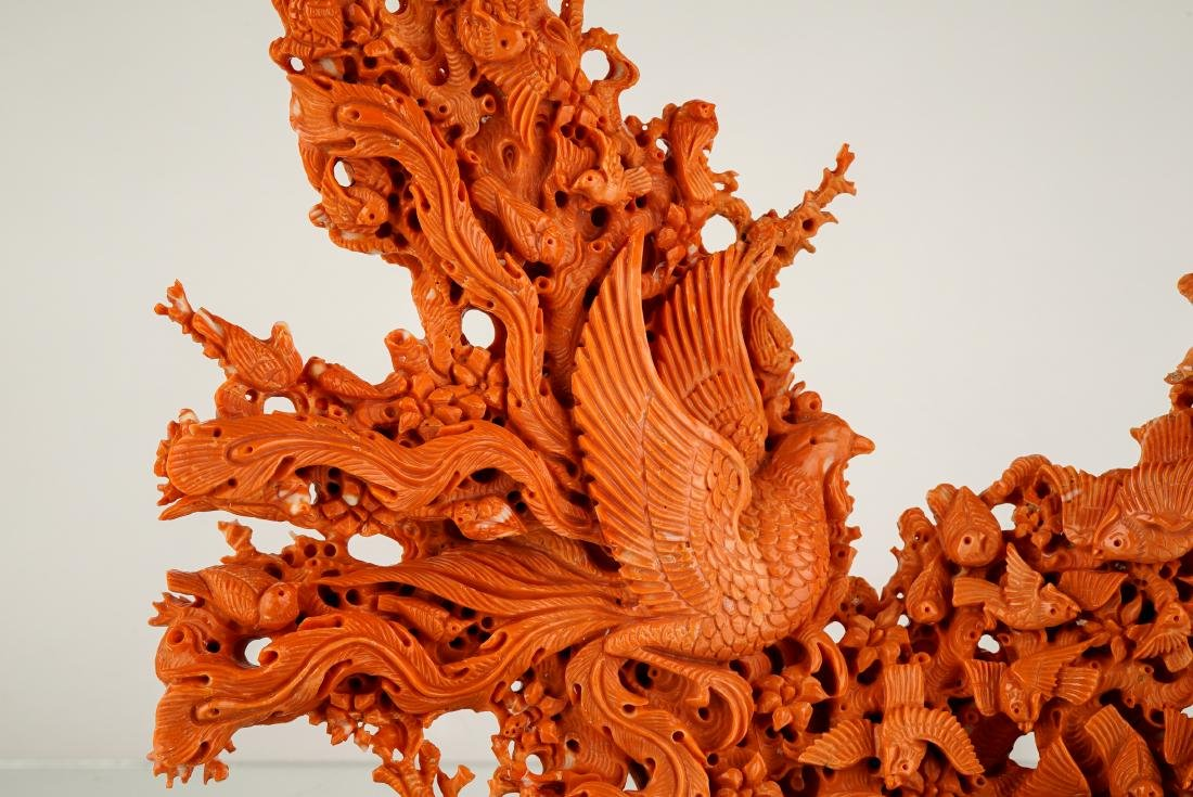LARGE CARVED RED CORAL GROUP WITH AVIAN MOTIFS - 4
