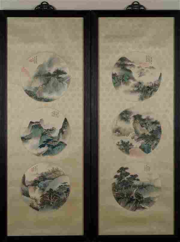 PAIR OF FRAMED WU HUFAN LANDSCAPE PAINTING