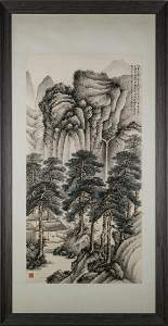 1952, FRAMED ZHANG DAQIAN LANDSCAPE PAINTING