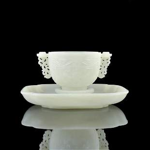 JADE MARRIAGE BOWL AND SAUCER