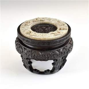 ANTIQUE JADE DRAGON RELIEF COIN BI DISK ON STAND