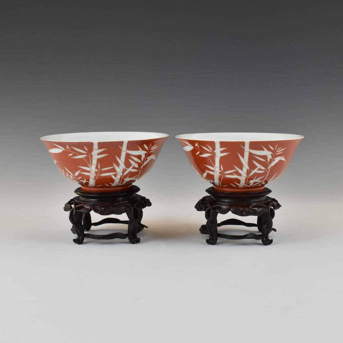 PAIR OF BAMBOO RED BOWLS IN PROTECTIVE BOX - 2