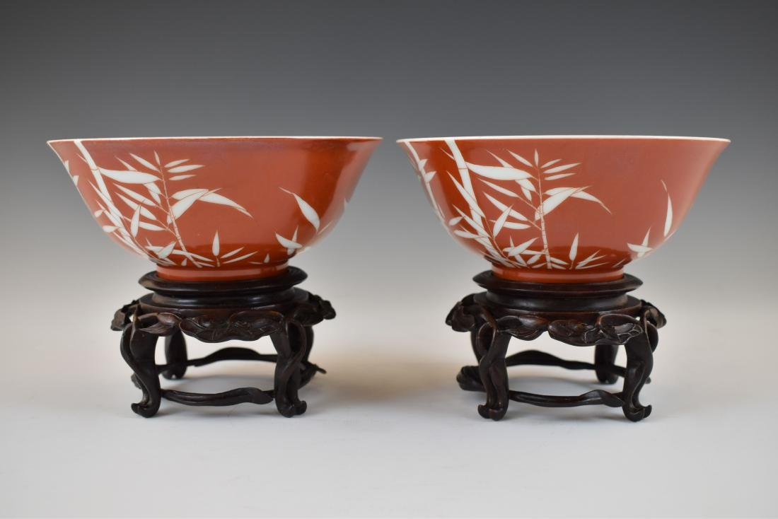 PAIR OF BAMBOO RED BOWLS IN PROTECTIVE BOX - 3