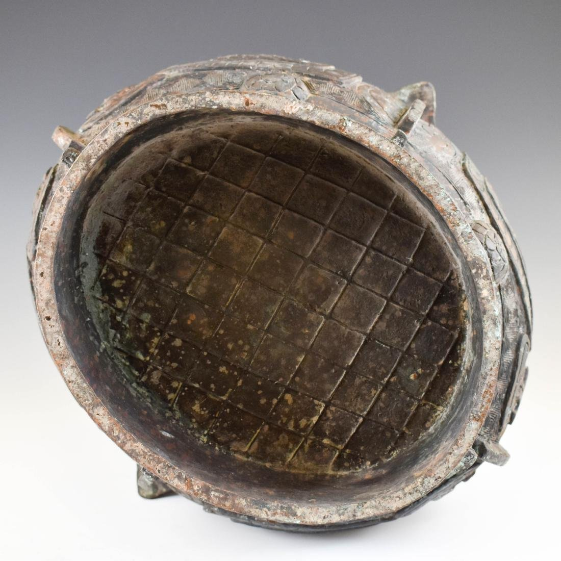 LARGE SHANG DYNASTY ZUN BRONZE CENSER ON STAND - 10