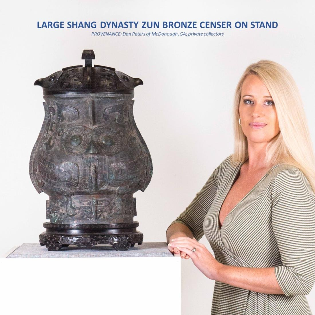LARGE SHANG DYNASTY ZUN BRONZE CENSER ON STAND