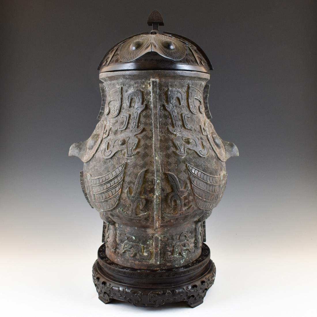 LARGE SHANG DYNASTY ZUN BRONZE CENSER ON STAND - 2