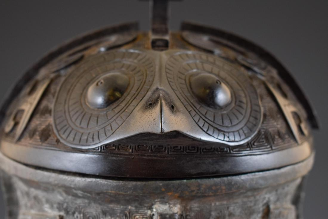 LARGE SHANG DYNASTY ZUN BRONZE CENSER ON STAND - 3