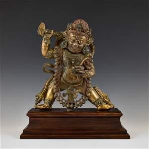 MING GILT BRONZE BUDDHA DEITY ACHALA ON STAND
