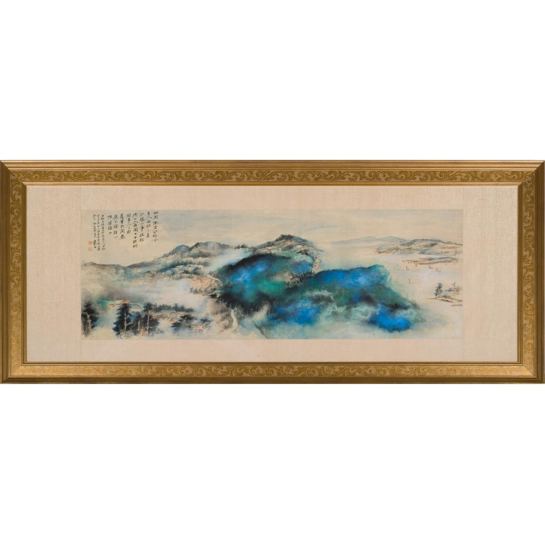 1968 ZHANG DAQIAN FRAMED BRILLIANT LANDSCAPE PAINTING - 2