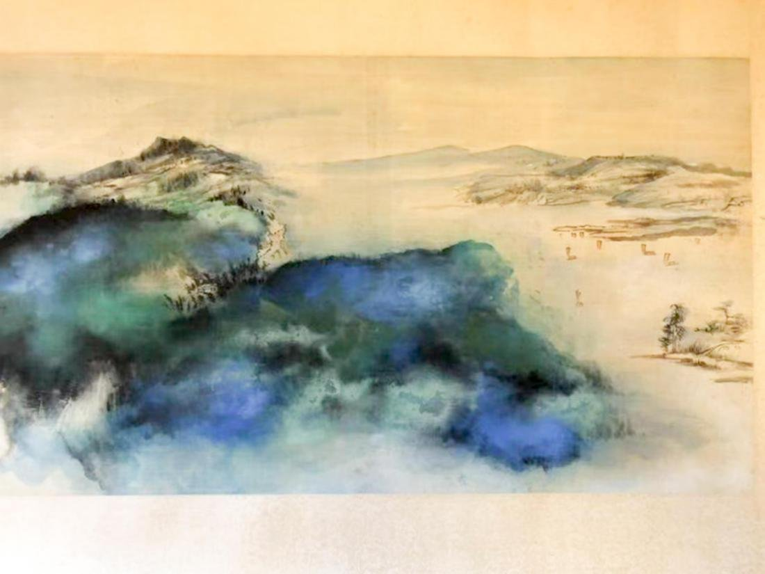 1968 ZHANG DAQIAN FRAMED BRILLIANT LANDSCAPE PAINTING - 4