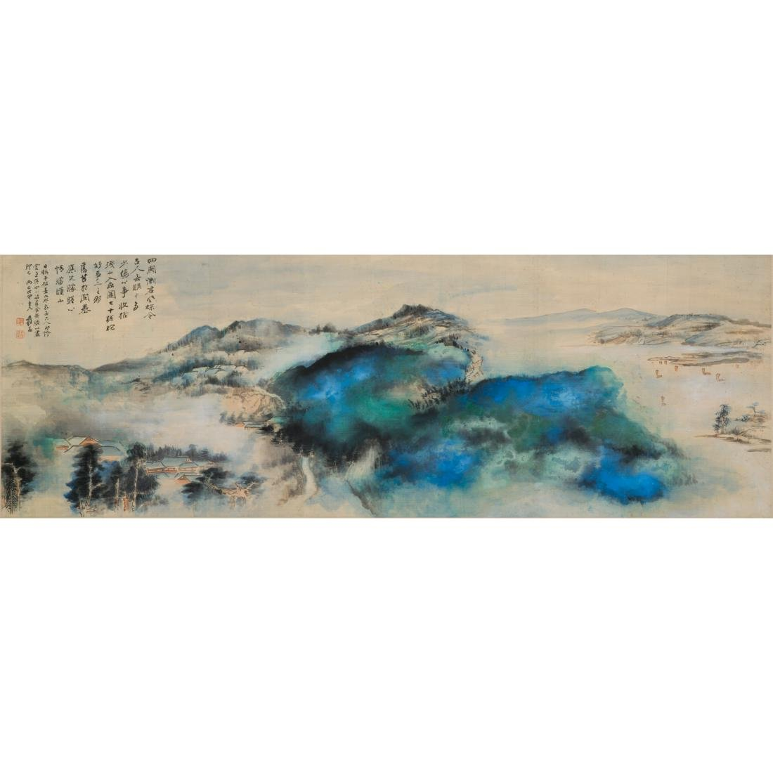 1968 ZHANG DAQIAN FRAMED BRILLIANT LANDSCAPE PAINTING - 6