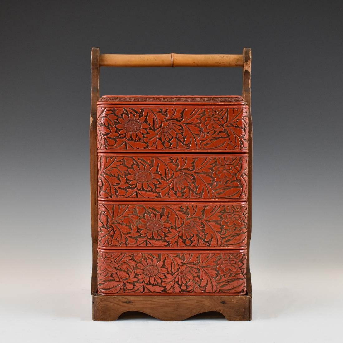 CHINESE THREE TIERS CINNABAR CARVED LUNCH BOX