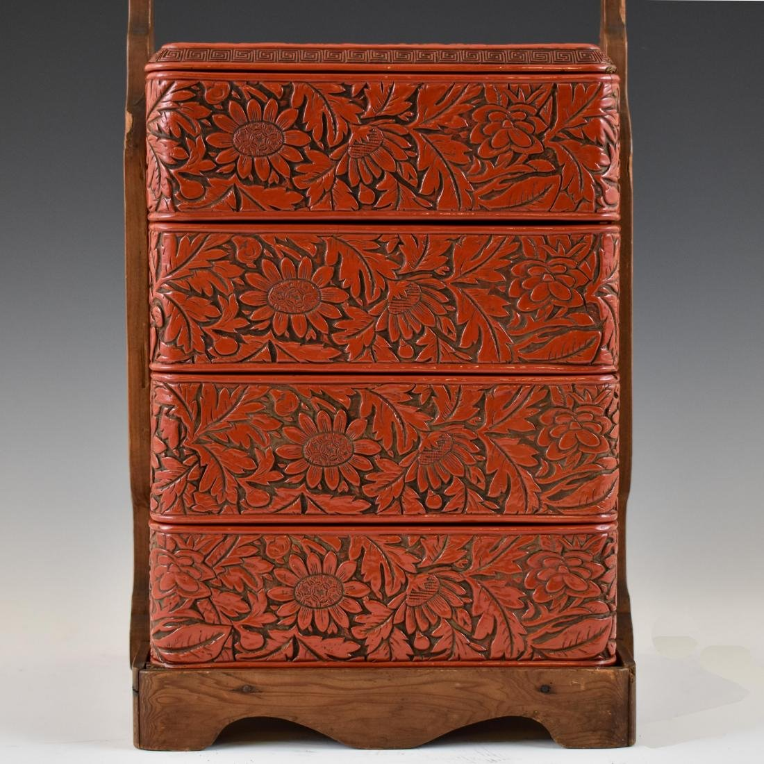 CHINESE THREE TIERS CINNABAR CARVED LUNCH BOX - 4