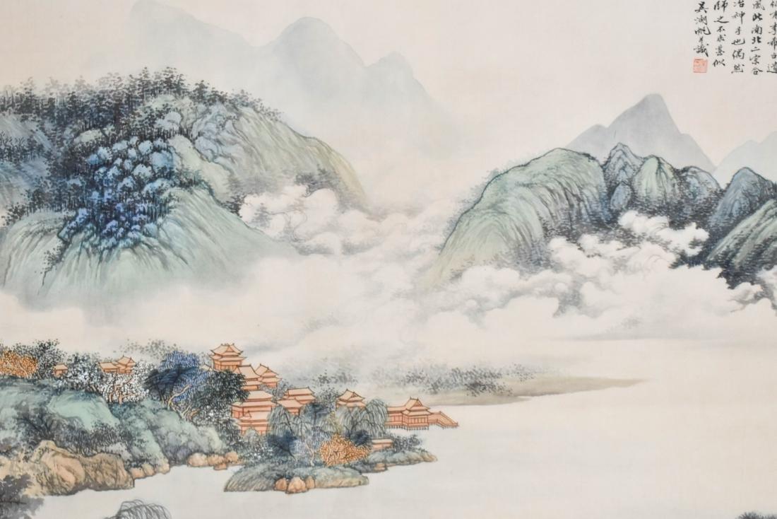 WU HUFAN, FRAMED WATERSIDE LANDSCAPE PAINTING - 5