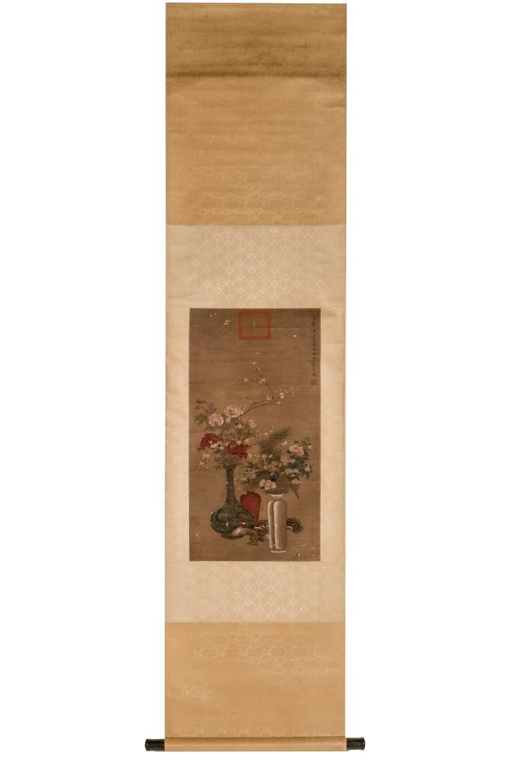 QING CHINESE SILK PAINTING SCROLL OF FLOWER