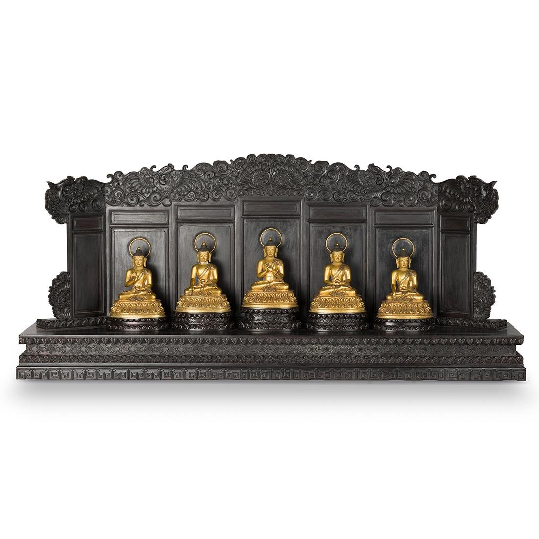 SET 5 GILT BRONZE BUDDHA ON WOODEN TORANA ALTAR